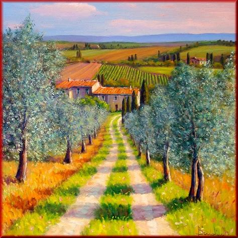 country paintings country path painting by mauro bendinelli