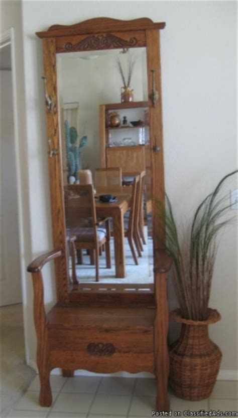 antique hall tree with storage bench and mirror vintage oak hall tree with mirror hooks storage seat