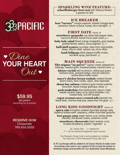 valentines day restaurant menu 333 pacific s s day menu cohn restaurant
