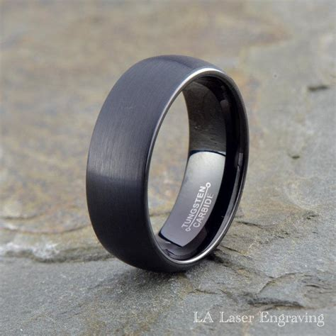 black tungsten mens wedding bands tungsten wedding band 8mm black wedding band mens