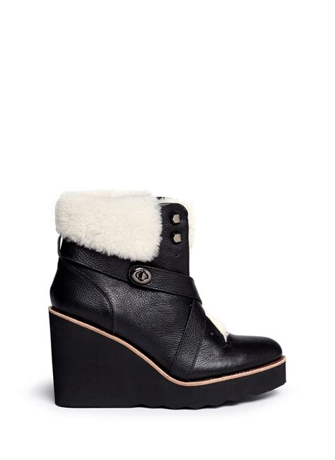 coach kenna shearling leather wedge boots in black lyst