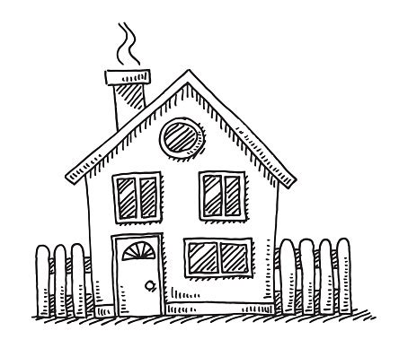 small detached house drawing stock illustration