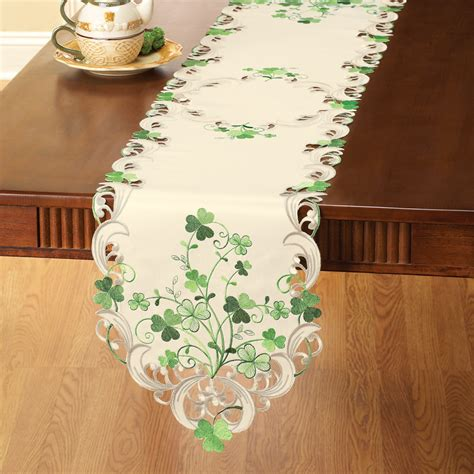 embroidered irish shamrock table linens ebay