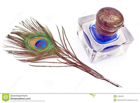 peacock feather quill and inkwell stock image image
