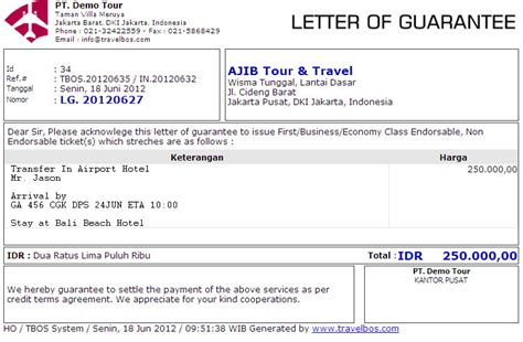 Guarantee Letter For Vacation Travelbos Front Office Aplikasi Travel Program Travel