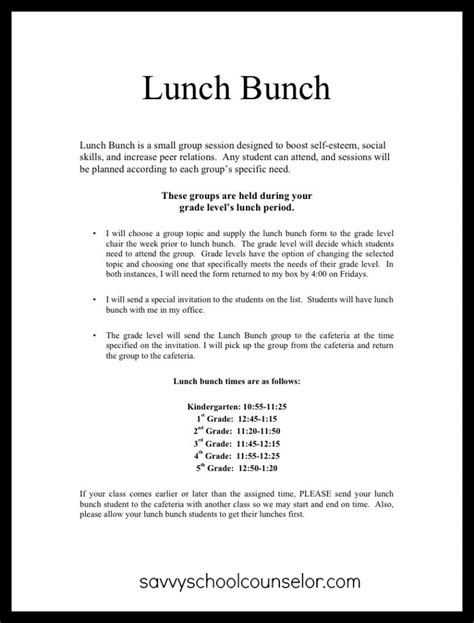 Invitation Letter For Lunch Lunch Bunch Savvy School Counselor
