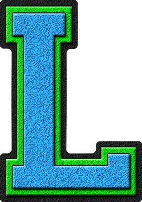 The Blue L by Presentation Alphabets Light Blue Green Varsity