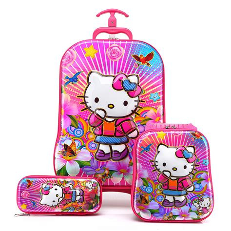 Tas Trolly 3d Timbul 3in1 1 3d hello luggage pencil bag set kid printed school trolley bags strawberry