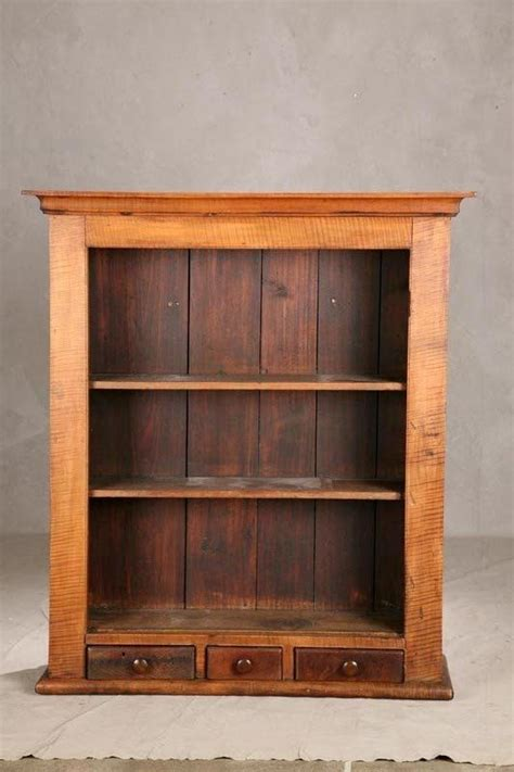 Ideas For Maple Bookcase Design Open Hanging Cupboard Curly Maple With Three Small Drawers And Three Shelves 46 H X 40 W X