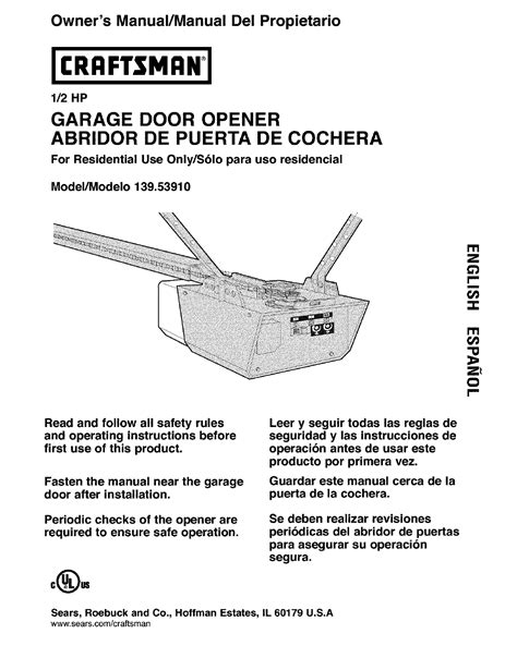 Overhead Door Garage Door Opener Manual Craftsman Garage Door Opener 139 5391 User Guide Manualsonline