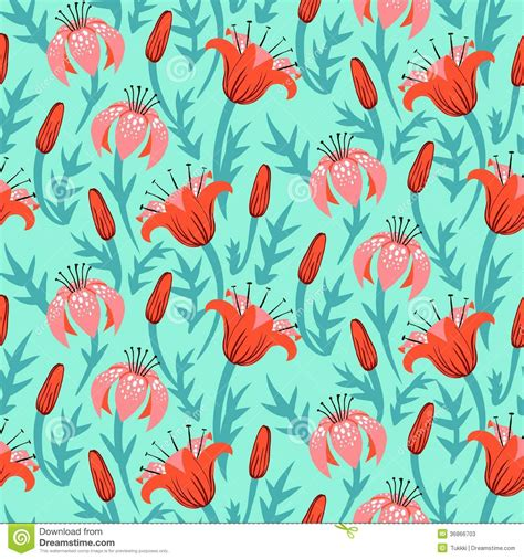 print a wallpaper vector floral pattern with tulips and lilies stock photos