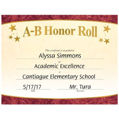 a b honor roll certificate template honor roll certiticate quotes