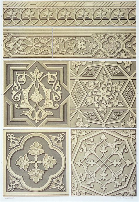 printinglarge drawing tiles arabic tile designs drawing by anonymous