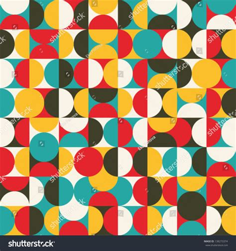 seamless pattern en francais retro seamless pattern circles colorful vector stock