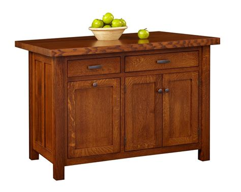 amish ancient mission kitchen island with two drawers and three doors