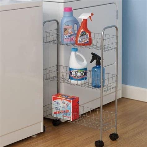 Storage For Laundry Room New Slim Washer Dryer Laundry Supplies Rolling Storage Cart Bin Steel Silver Ebay