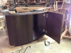 curved bathroom cabinets curved front walnut veneer vanity cabinet contemporary