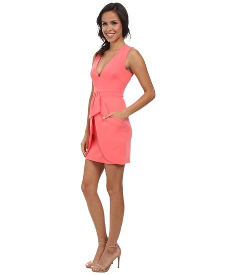 Clare Pink Dress bcbgmaxazria clare sleeveless wrap drape skirt dress in