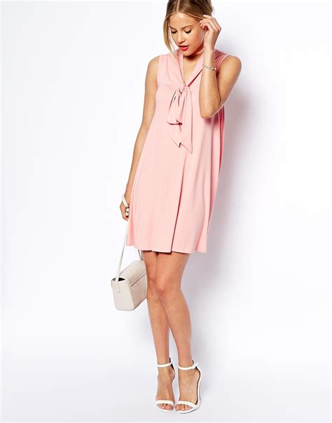 swing dress asos asos sleeveless swing dress with pussybow in pink lyst