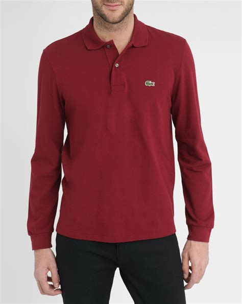 Polo Shirt Lacost Maroon Mix Black lacoste burgundy sleeve polo shirt in purple for