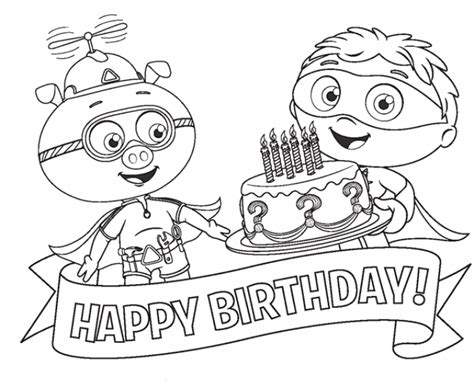 alpha pig coloring page alpha pig and super why happy birthday coloring page to