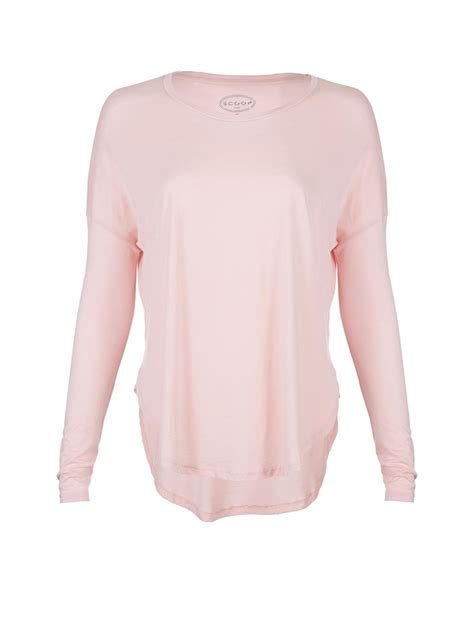 light pink long sleeve top scoop long sleeve modal cotton tee in pink light pink lyst