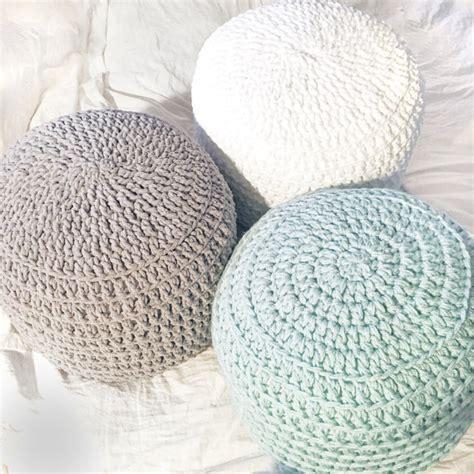 crochet pouf pattern ottoman mint green white grey hand crochet pillow ottoman pouf