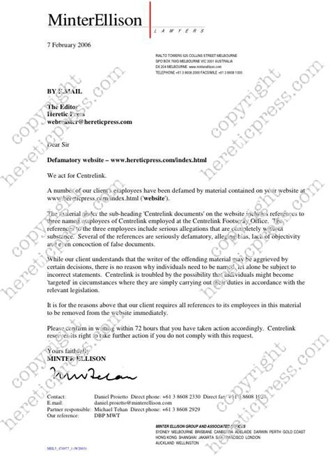 Complaint Letter Defamation Hereticpress Editorials 2006 Separation Of Powers A Labor State Australia