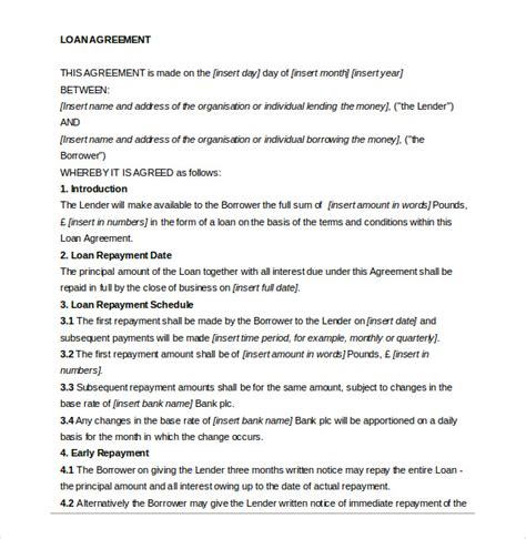 14 Loan Agreement Templates Free Sle Exle Format Download Free Premium Templates Loan Forgiveness Agreement Template