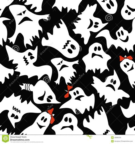 black ghost pattern seamless pattern of white ghosts stock vector image