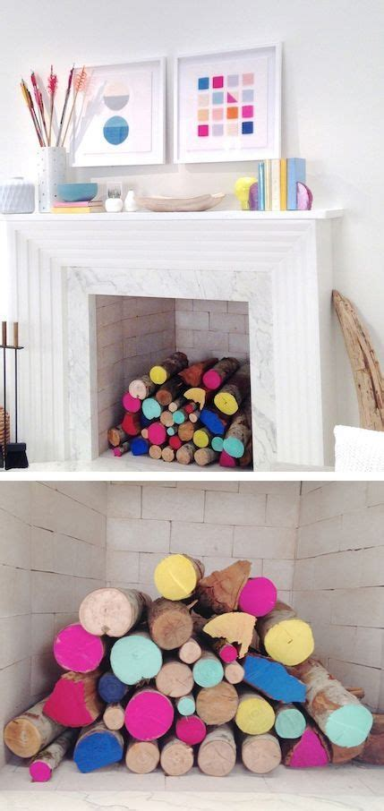 colorful fireplace summer interiors colourful fireplace diy paint log