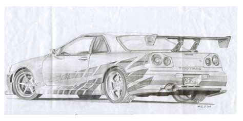 nissan skyline drawing 2 fast 2 furious 2 fast 2 furious r34 drawing by biggestsuprafan on deviantart