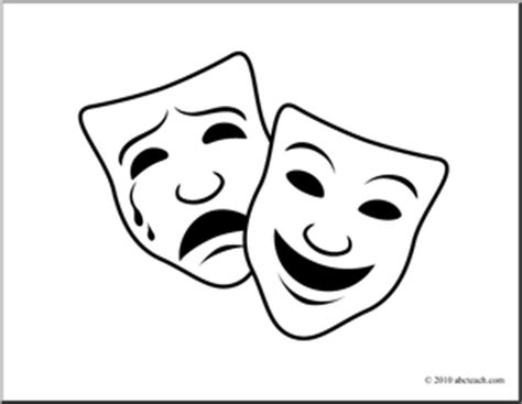 Theatre Mask Outline by Theatre Masks Comedy Tragedy Clipart 30