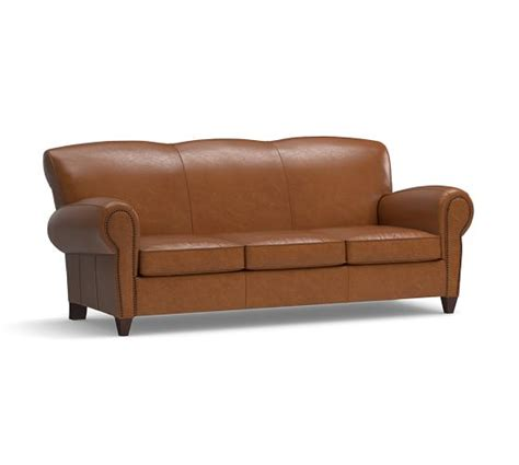 Manhattan Leather Sofa With Nailheads Pottery Barn Leather Sofa Nailhead