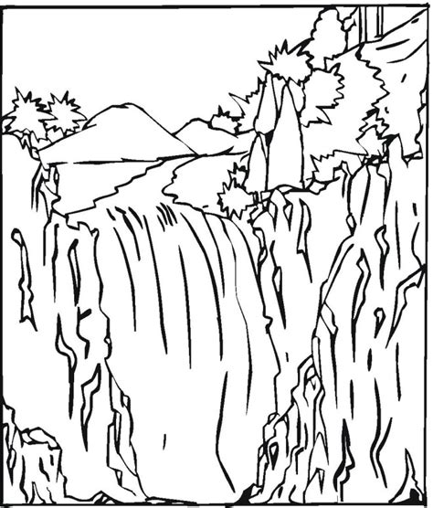 Waterfall Coloring Page water fall colouring pages
