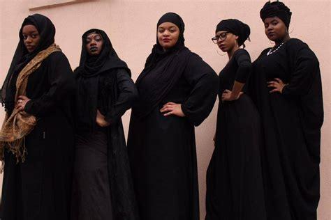 Black Muslim photoshoot blackout fashion all black hijabis