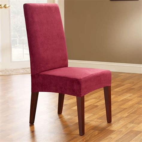 slip covers for dining room chairs 1 pc sure fit soft suede short dining chair slipcover brurgundy ebay