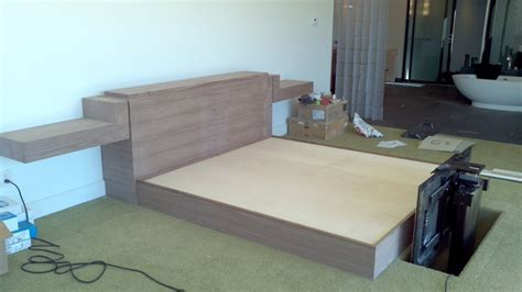 Tv In Bed Footboard by Black Walnut Bed With Tv Lift Built Into The Footboard Tv Lift Beds Tvs And Bed