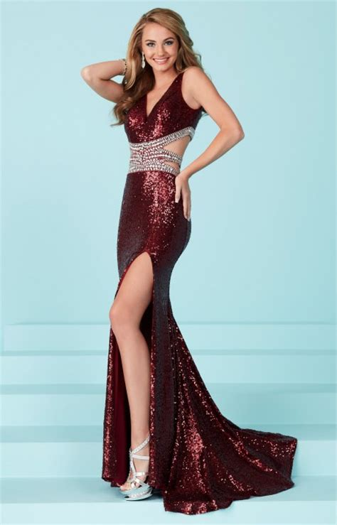 tiffany designs  fully sequined fitted high slit