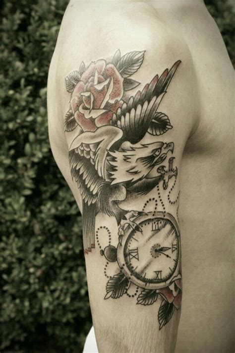 eagle and rose tattoo mens arm with eagle and arm tattoos for