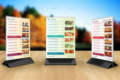 Table Tent Menu Design 1 By Erseldondar Graphicriver Table Top Menu Template