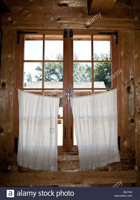 Curtains For Cabins Wooden Frame Window In Log Cabin With Basic Curtains Fort Langley Stock Photo Royalty Free