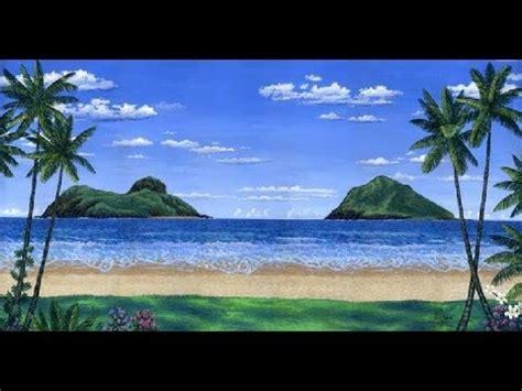 melukis pantai tropis  pulau pulau menggunakan