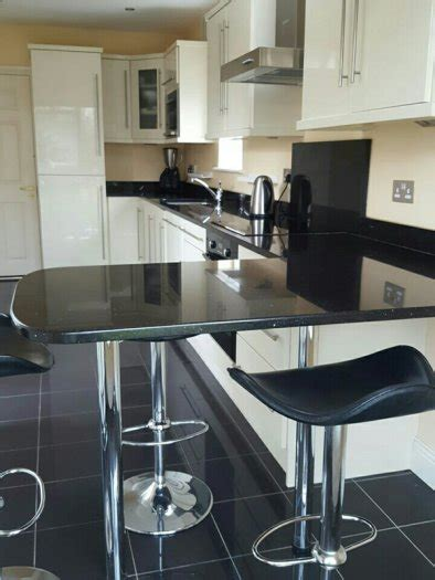 Kitchen Breakfast Bars For Sale by High Gloss Kitchen With Black Granite Counter Tops