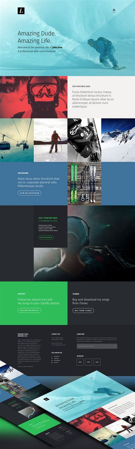 Nice One Page Personal Portfolio Website Template Free Psd Download One Page Personal Portfolio Sle Portfolio Websites Templates