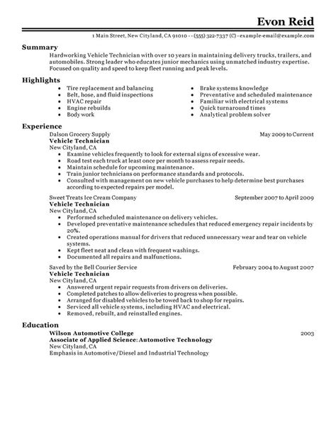 resume exle for automotive mechanic best transportation automotive technician resume exle livecareer