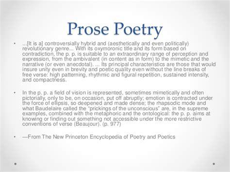 exle of prose prose poetry presentation