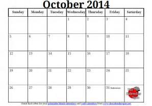 Blank Calendar Template 2014 by Blank Monthly Calendar October 2014 Calendar Template 2016