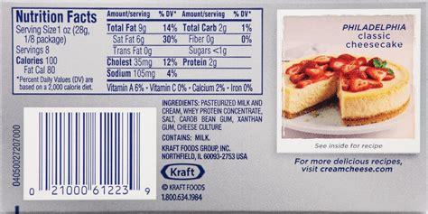 calories in light cream cheese philadelphia cream cheese nutrition