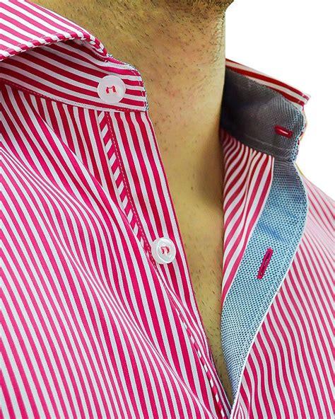 desain dress tile red white vertical stripe designer dress shirt stone